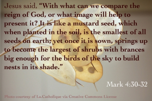 Mark 4:30-32 and image of a mustard seed